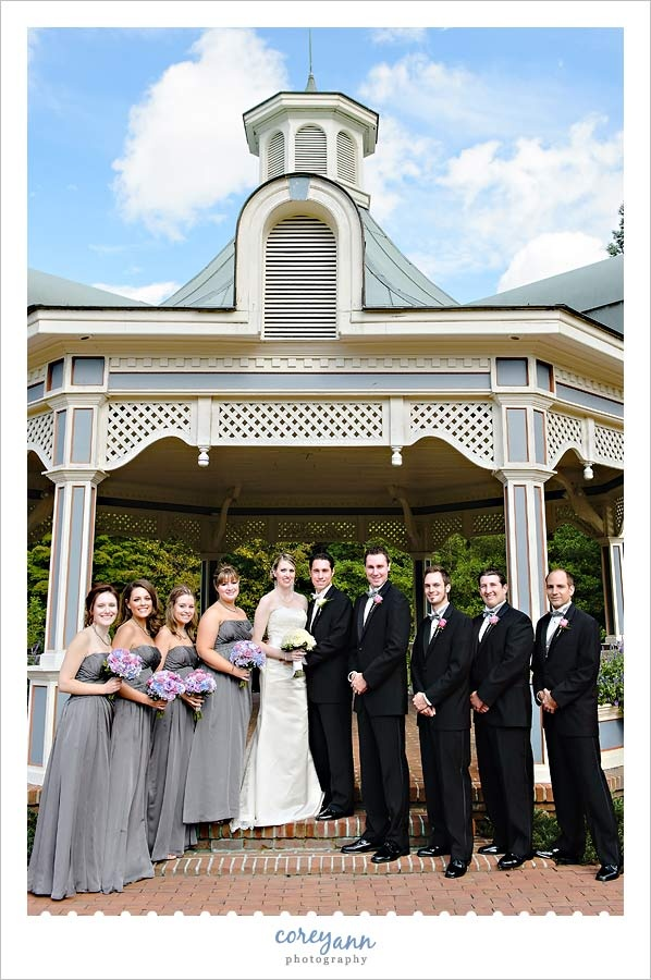 wedding picture locations akron ohio%0A Grey and pink bridal party with bridesmaids in long grey dresses with pink   blue and