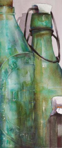 Old bottles. / Watercolor, watercolour. / By Danièle Fabre.
