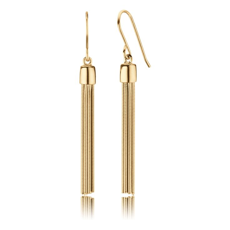 $125.00 Click to open. Earrings tassel gold made of gold plated 925 sterling silver. Size: 40mm. Care tips: Jewelry made of gold plated 925 sterling silver