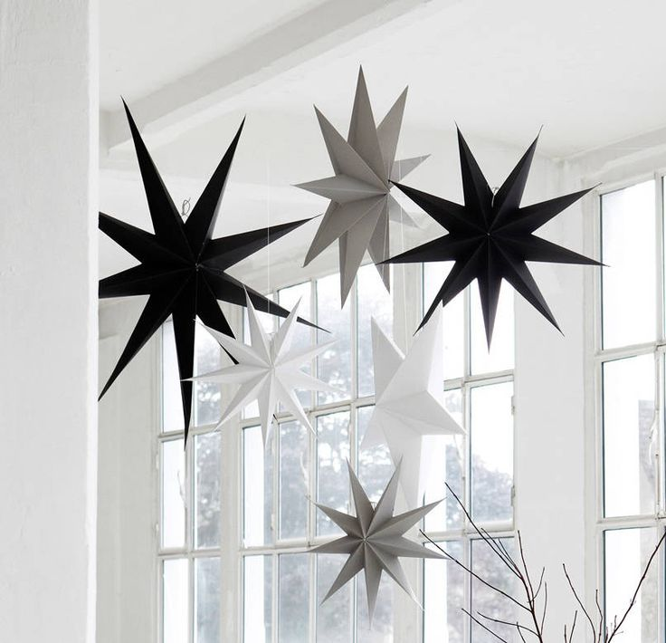 Large Christmas stars in stylish monochrome colours.White 9 point (45,60 and 87cm) Grey 9 point (60cm) White 5 point (45 and 60cm) Grey 5 point (45 and 60cm) Black 9 point (45cm)These large (60cm) paper white, pale grey and black star Christmas decorations look great hung alone or can be combined in clusters at different heights, or with stars in other colours and sizes from the same range, to create a stunning effect. They look beautiful hanging in windows, above a fireplace or use one on…