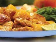 Ingredients:  - 1 chicken - 1 onion - 3,5 dl of milk - 3 garlic cloves - 250 gr of mango cut into pieces - chilli to taste - salt to taste -...