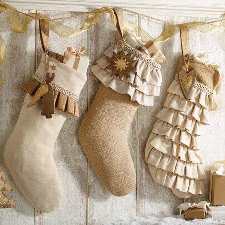 Burlap Christmas Stockings -
