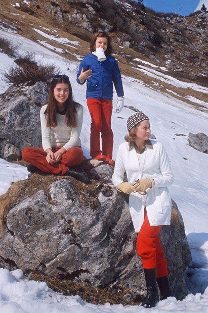Princess Grace with Princess Caroline and Princess Stephanie on ski holiday in 1972.