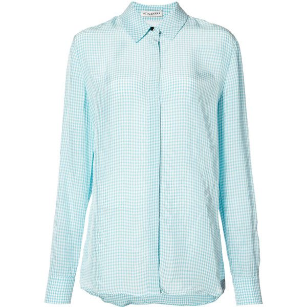 Altuzarra check shirt (21.420 ARS) ❤ liked on Polyvore featuring tops, blue, blue long sleeve top, checked shirt, blue checkered shirt, collared shirt and blue top