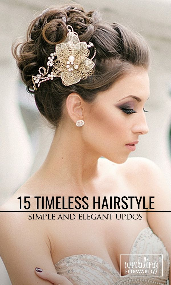 15 Timeless Bridal Hairstyles ❤ Take a moment to consider these wonderfully simple and elegant timeless bridal hairstyles that might just catch your fancy. They work for those with long hair, short hair and frizzy hair. See more: http://www.weddingforward.com/timeless-bridal-hairstyles/ #weddings #hairstyles