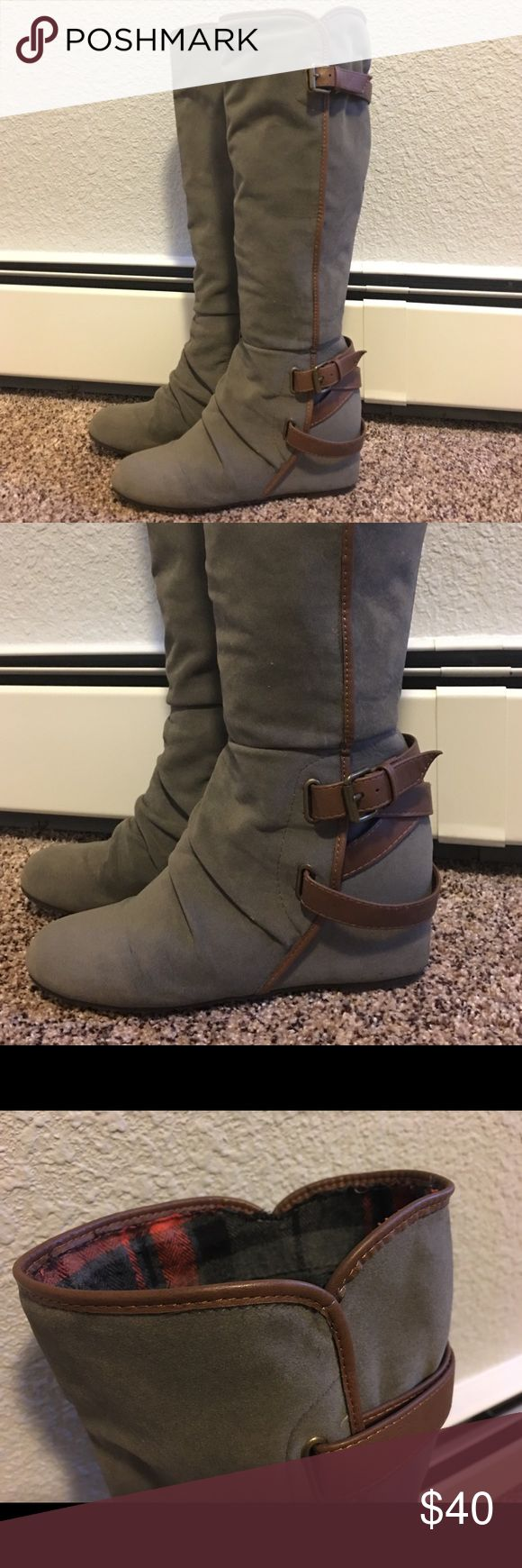 Aldo Boots Grey suede Brown buckle boots.  Good condition.  No marks.  Pre-loved. Aldo Shoes Heeled Boots