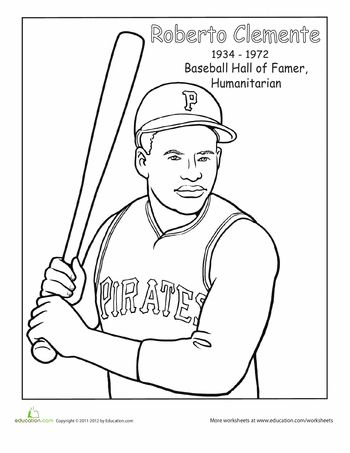 Worksheets: Roberto Clemente Coloring Page