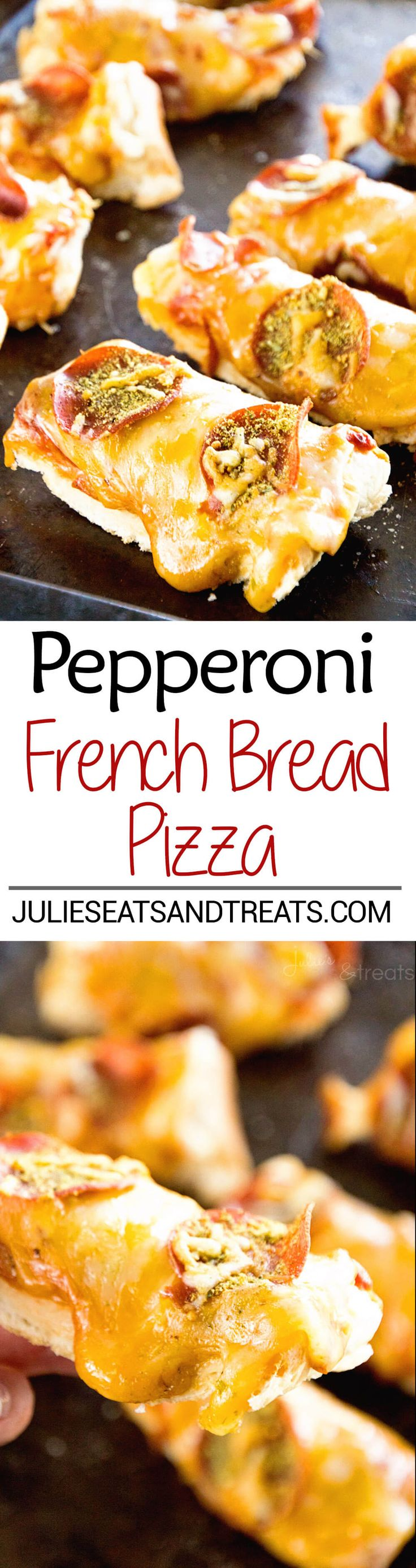 Pepperoni French Bread Pizza Recipe ~ French Bread Layer with Pizza Sauce, Pepperoni and Cheese! Quick and Easy Twist on Pizza Night! via @julieseats