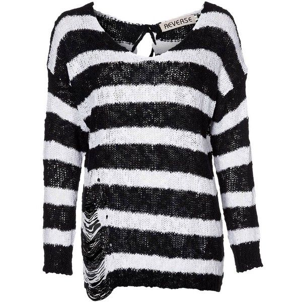 Reverse Jumper black/white ($59) ❤ liked on Polyvore featuring tops, black, jumpers, women's sportswear, black and white top, white and black top, reversible top and black white top