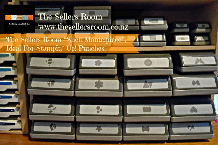 """""""Shelf Mantelpiece"""" by The Sellers Room. Margarette at The Sellers Room has done it again! I introduce to you the … 'The Sellers Room """"Shelf Mantelpiece"""", ideal for Stampin' Up! Punches'!!! At only $15 per unit {+ postage}, this is a cheap and easy way to tidy up your Craft Room!"""