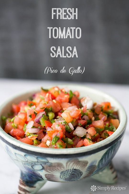 Salsa Fresca! Tomatoes, chiles, red onions, lime and cilantro. Perfect over tacos, or as a side to steak and beans. #CincodeMayo On SimplyRecipes.com