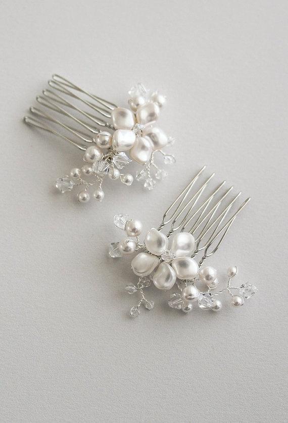 Selina Bridal Pearl Combs Wedding Hair By Jewelrytang