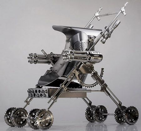 Now that you've seen the transforming zombie-proof safe house, it's time to check out the latest in survival gear. This latest gadget is a baby stroller equipped with heavy weapons, complete with twin gatling guns.