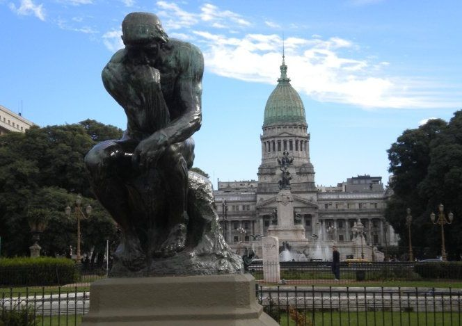 The Thinker by Rodin In Plaza De Congresso - Buenos Aires, Argentina