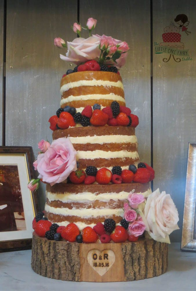 Rustic Naked Wedding Cake with berries and