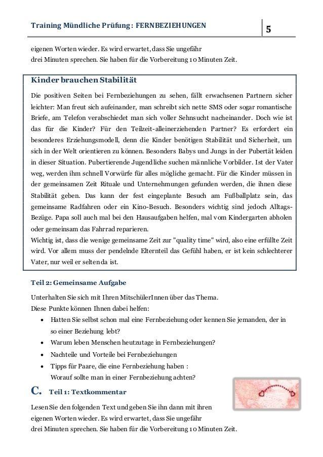 Fernbeziehungen Traininig Fur Die Mundliche Prufung B2 2 In 2020 German Language Texts Jung In