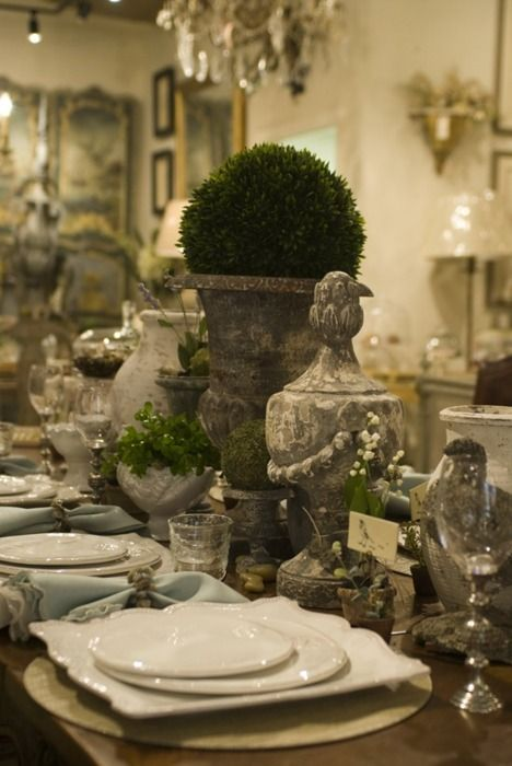 tablescape: Dining Room, Tables Sets, Tables Scapes, Rustic Table, Tablescapes, Old World Style, Gardens Theme, White Dishes, Elegant Dining