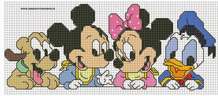 Hobby lavori femminili - ricamo - uncinetto - maglia: schema punto croce minnie topolino e pluto