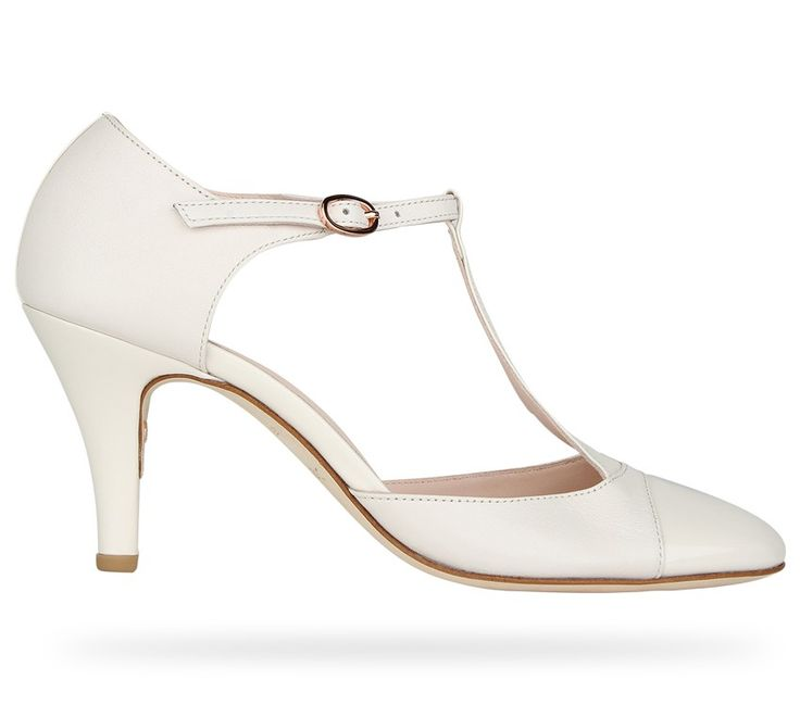 T-strap shoe Claudia Cocoa White Patent Leather and Nappa Calfskin by Repetto. #Repetto #Wedding #WeddingShoes #White #WhiteShoes #Blanc