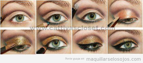 Cómo maquillarse los ojos con pururina dorada y perfilador negro ...