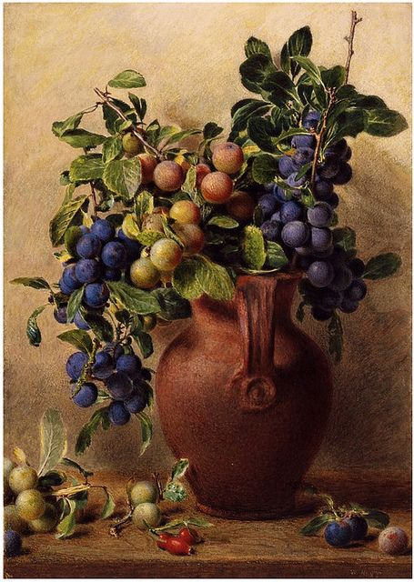 William Henry Hunt 'Jugs, Plums and Rosehips' (19th Century) by Plum leaves, via Flickr