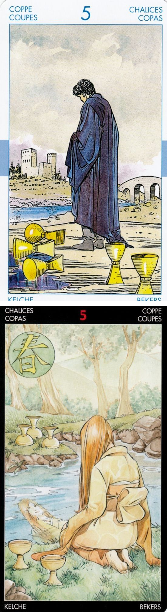 Five of Cups: but something remains to be salvaged and moving on from dark times (reverse). Universal New Tarot deck and Manga Tarot deck: vintage tarot cards, tarot reader and tarw online. New cartomancy and tarot meanings the empress. #hermit #halloween #android #tarotmeanings
