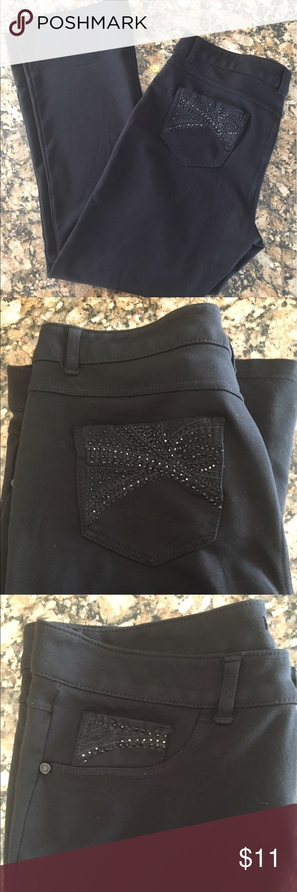 Roz and Ali Stretch Knit pants with Jean styling Great condition!  These are jet black, the sunlight won't allow me to capture how dark they are!  ☀️. Beautiful beading and stitching on the back and coin pockets.  I am 5'9 and these shrunk on me when I washed them.  They are thin enough to tuck into tall boots (I did!) or wear as an ankle pant.  Very slight bootcut.  Slight wear on button as shown in picture, otherwise no stains, marks piling or other signs of wear. Fabric content and…
