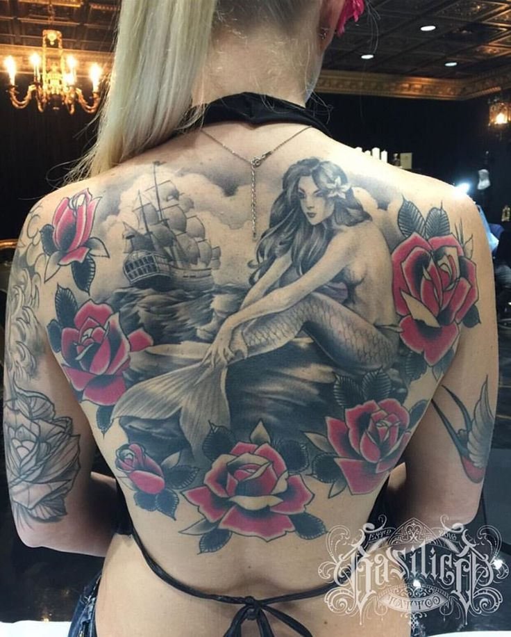 Attractive Healed Mermaid Back Piece Tattoo
