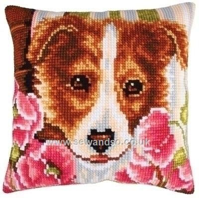 Buy+Dog+and+Pink+Poppies+Cushion+Front+Chunky+Cross+Stitch+Kit+Online+at+www.sewandso.co.uk