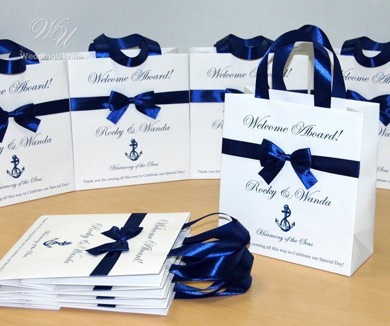 25 Welcome Aboard Wedding Welcome Bags With Satin Ribbon Etsy Personalized Wedding Favor Bags Blue Nautical Wedding Nautical Wedding Favors