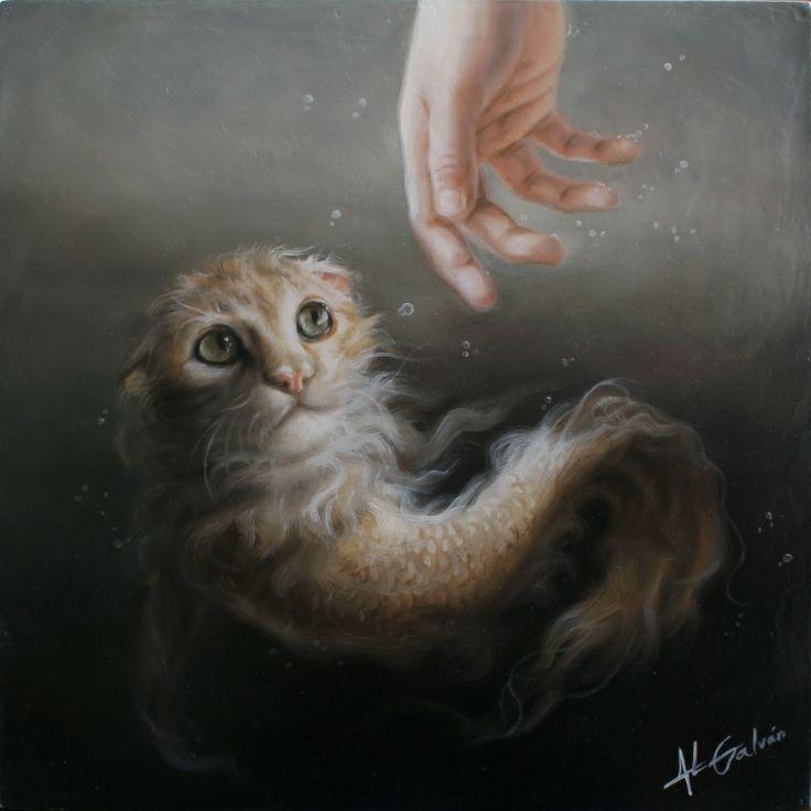 """Sin título """"El pez gato"""" -  40cm x 40 cm. Artista: José Luis López Galván"""