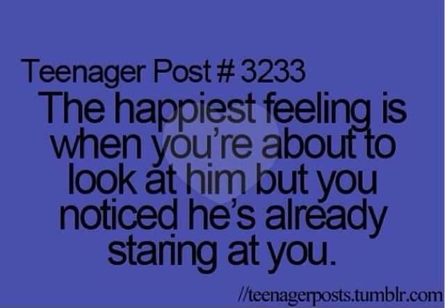 Yeah... When I make eye contact 5 times with the boy I have a crush on in one lesson.... Yeah... Pretty akward