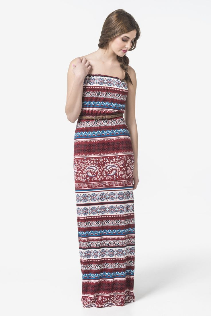 Burgundy, blue & white strapless belted maxi dress - Dresses - Clothing | Ardene Official Online Store