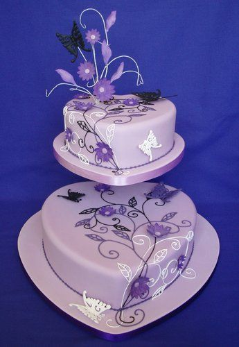 heart purple wedding cake #wedding cake
