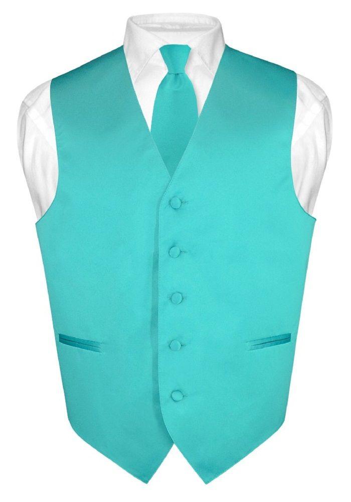 Men's Dress Vest & NeckTie Solid TEAL Color Neck Tie Set for Suit or Tuxedo