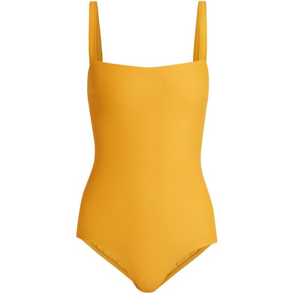 Matteau The Square swimsuit (€220) ❤ liked on Polyvore featuring swimwear, one-piece swimsuits, swimsuit, swim, bodysuit, one piece, swim suits, swim swimwear, yellow one piece swimsuit and 1 piece bathing suits