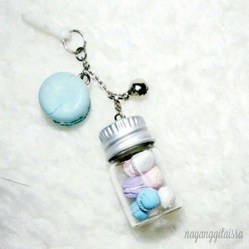 xtra mini macaron on jar dust plug (phone accesories) in pastels