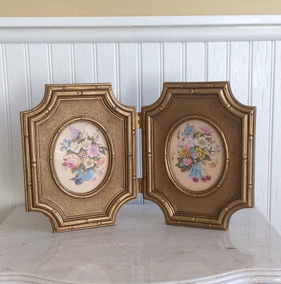 Beautiful vintage Homco gold ornate picture frames. Faux bamboo style made of a sturdy plastic composite ( Syroco like). Oval center of each frame with a still life print & glass cover. Could be removed & replaced with family photos. Frames can sit or be hung on wall & separated.