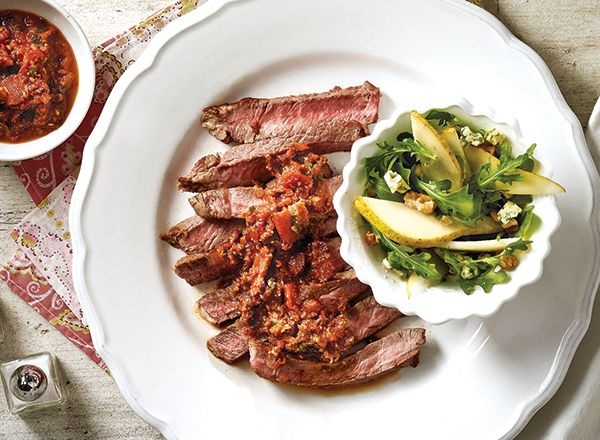 Steak with Spicy Mushroom Sauce and Pear Arugula Salad from Publix Aprons