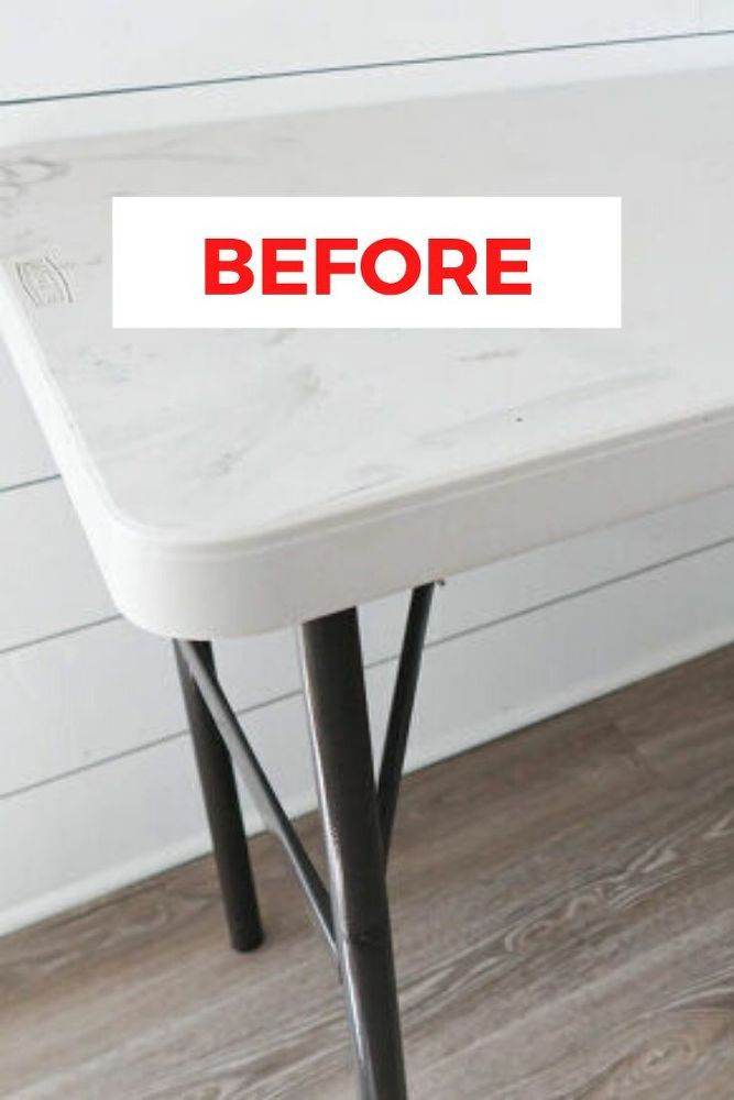 How To Makeover A Plastic Folding Table Idea Diy In 2020 Painting Plastic Furniture White Plastic Table Painted Table Tops
