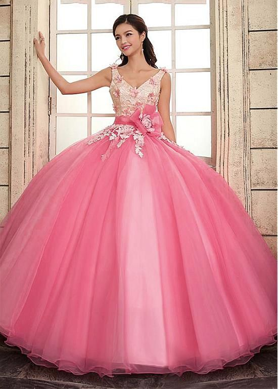 Glamorous Lace & Organza V-neck Neckline Ball Gown Quinceanera Dresses With Handmade Flower & Rhinestones