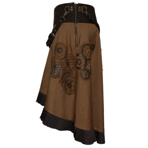 EW-114 - Brown Steampunk Skirt with a Belt and Clockwork Detailing - MADE TO ORDER - STEAMPUNK - 2012 Collection!