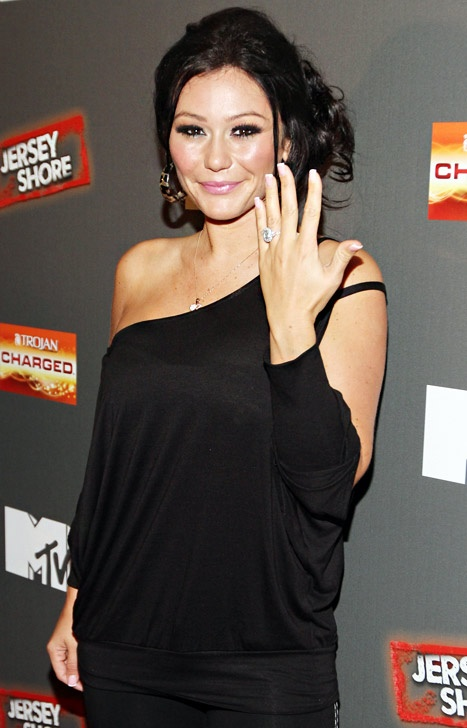 "JWoww shows off her 5-carat sparkler from Roger Mathews while  attending the ""Jersey Shore"" Final Season Premiere on October 4, 2012 in New York City."