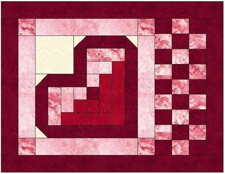 Pattern For Log Cabin Heart Quilt : 1000+ images about Quilt blocks on Pinterest Quilt blocks, Quilt block patterns and Star quilt ...