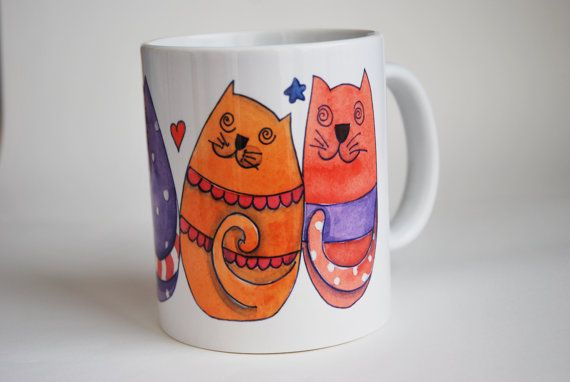 #Tazza in #ceramica con #gatti illustrati di #LabLiu su #Etsy #tazza #mug #kitchen #cucina #italia #artigianato #illustrazioni #illustration #chat #cat