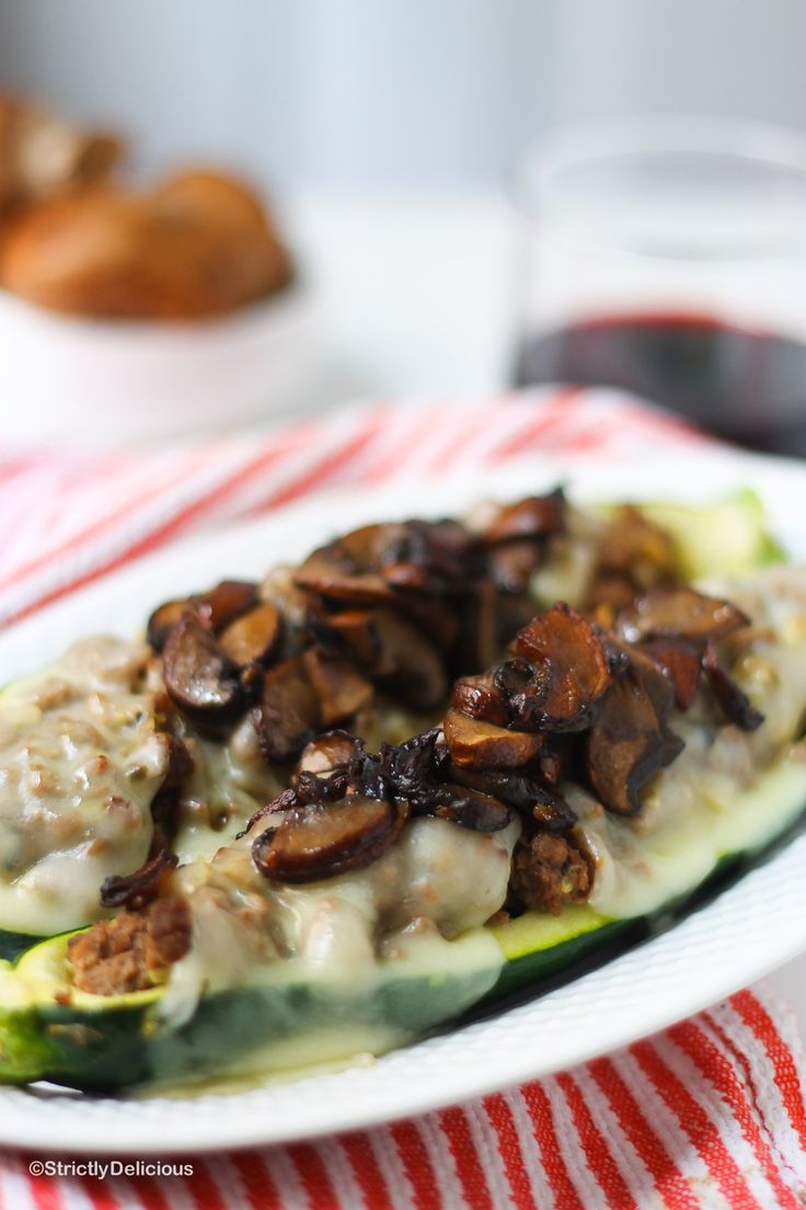 Mushroom Swiss Burger Stuffed Zucchini Boats |StrictlyDelicious.com