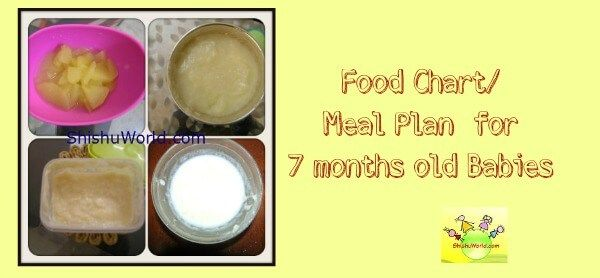 7 months baby food chart indian