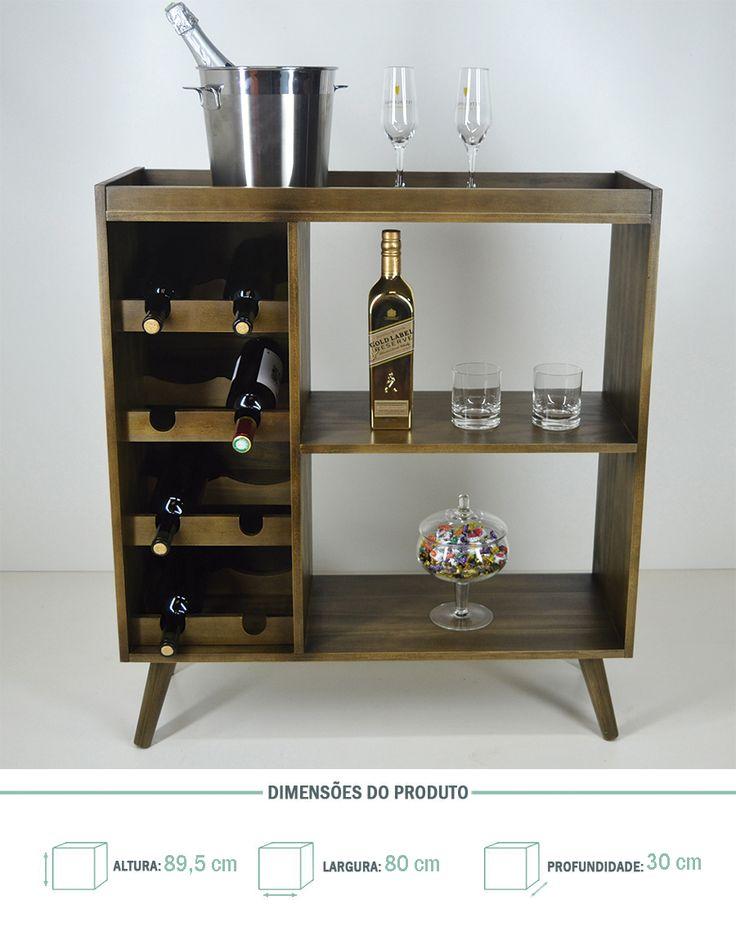 Adega Para Vinho Em Madeira Aparador Bar Pés Palito - R$ 340,00
