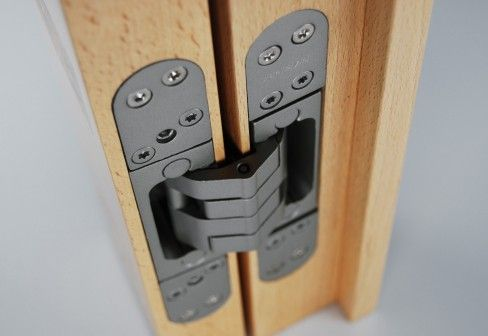 Hidden door hinges.