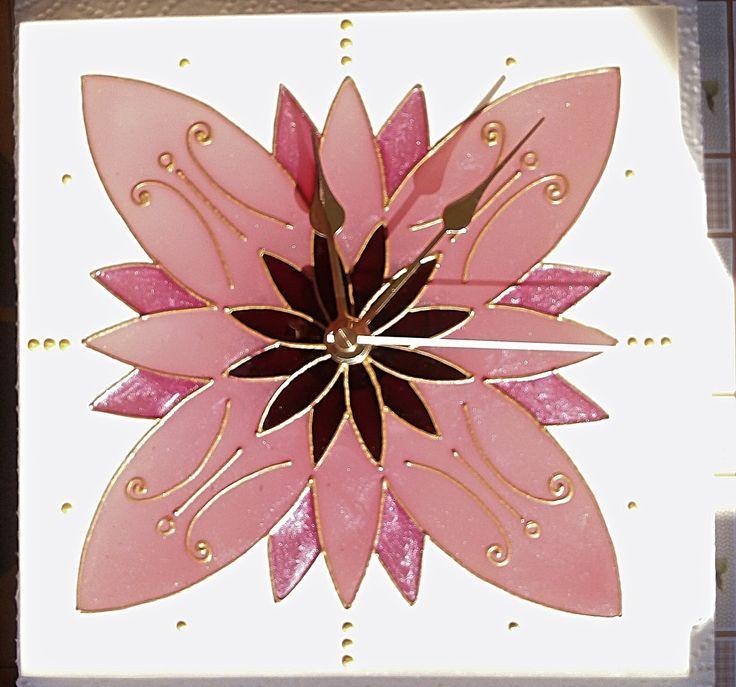 Kézzel festett üvegóra - Mandalaóra